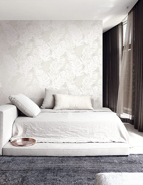 White on White Wallpaper Room Setting