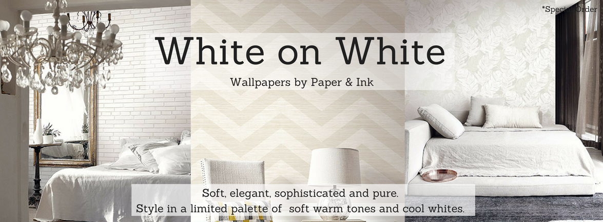 White on White Wallpaper by Paper & Ink